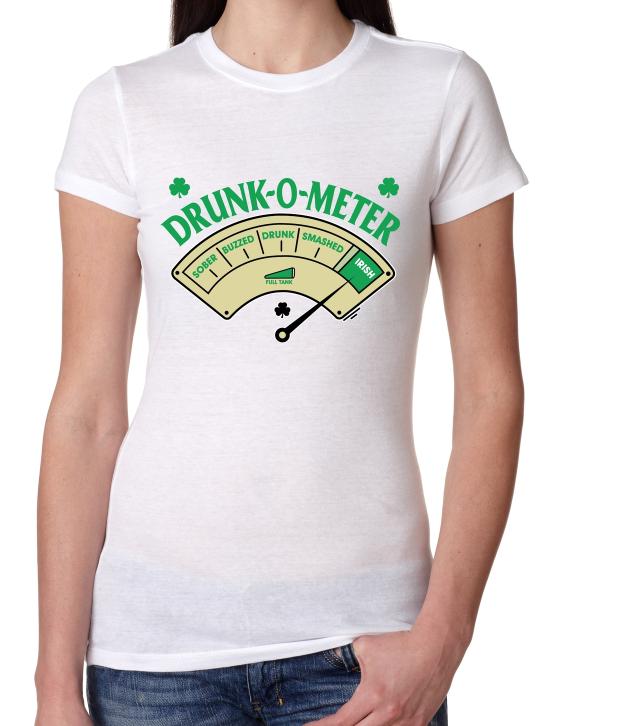 Women's Tee Shirt Drank O Meter Irish Girl Shirt