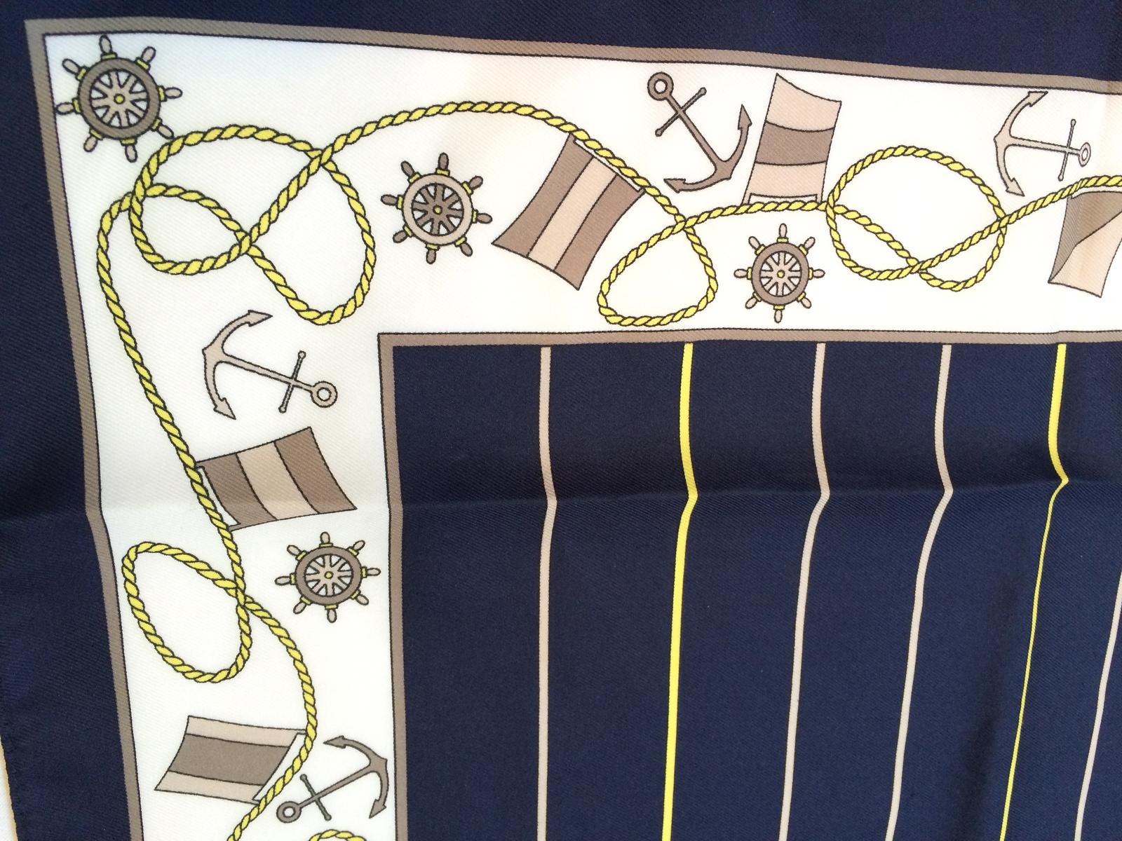 Nautical Whimsical Anchor Boat Resort Scarf Stripe Navy Yellow White Vintage