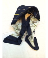 Nautical Whimsical Anchor Boat Resort Scarf Stripe Navy Yellow White Vin... - $20.00