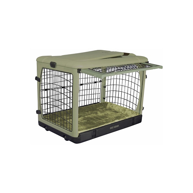 Pet Gear Deluxe Steel Dog Crate with Bolster Pad - Small/Sage 961-PG5927BSG
