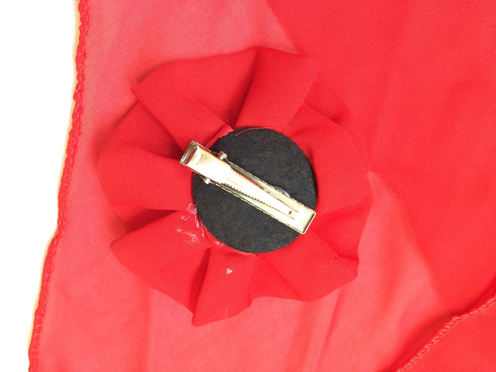 Red Set of 2 Feminine Timeless Skinny Scarf Belt Hair Clip Pin Handmade Vintage