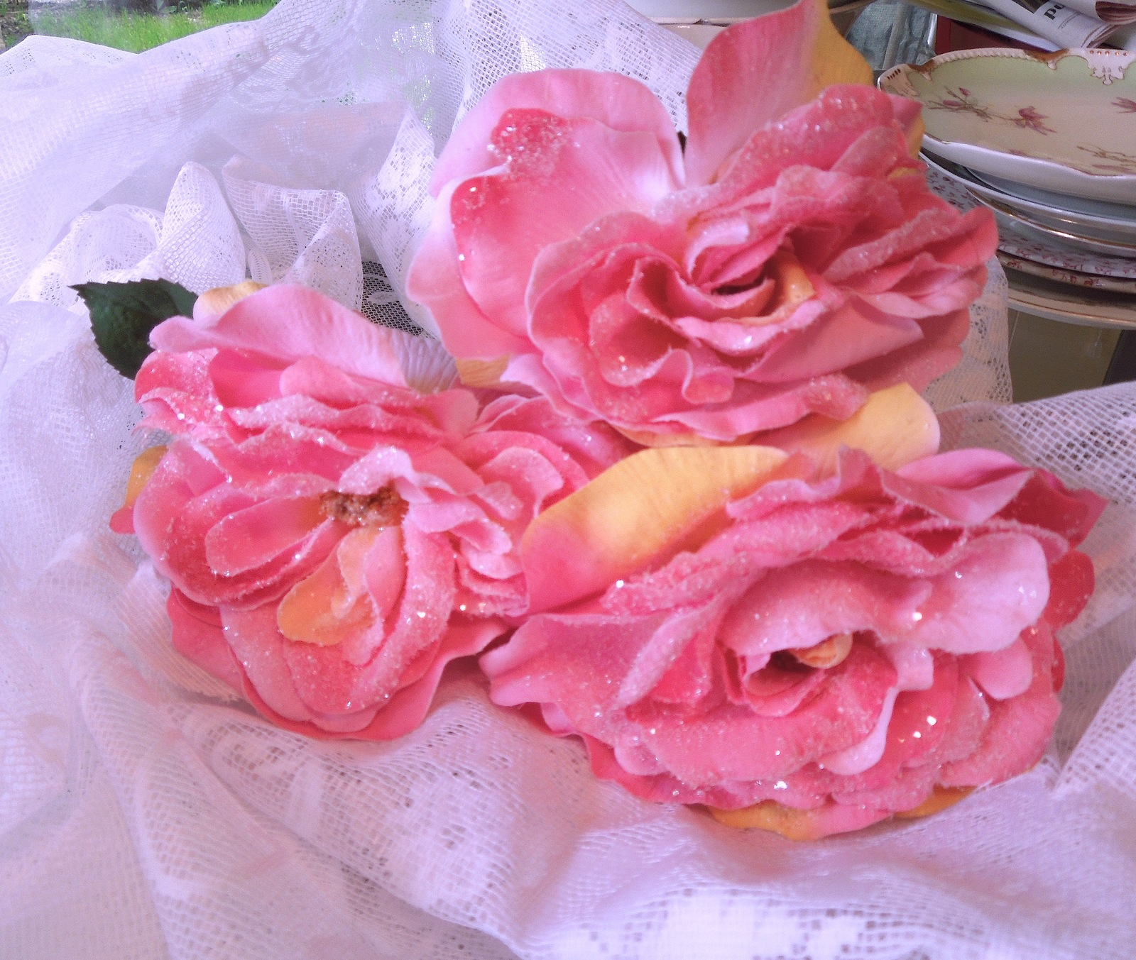 """3 Large Glitter and Sun Kissed Pink Blush Artificial Flowers - 6"""" Roses #44002"""
