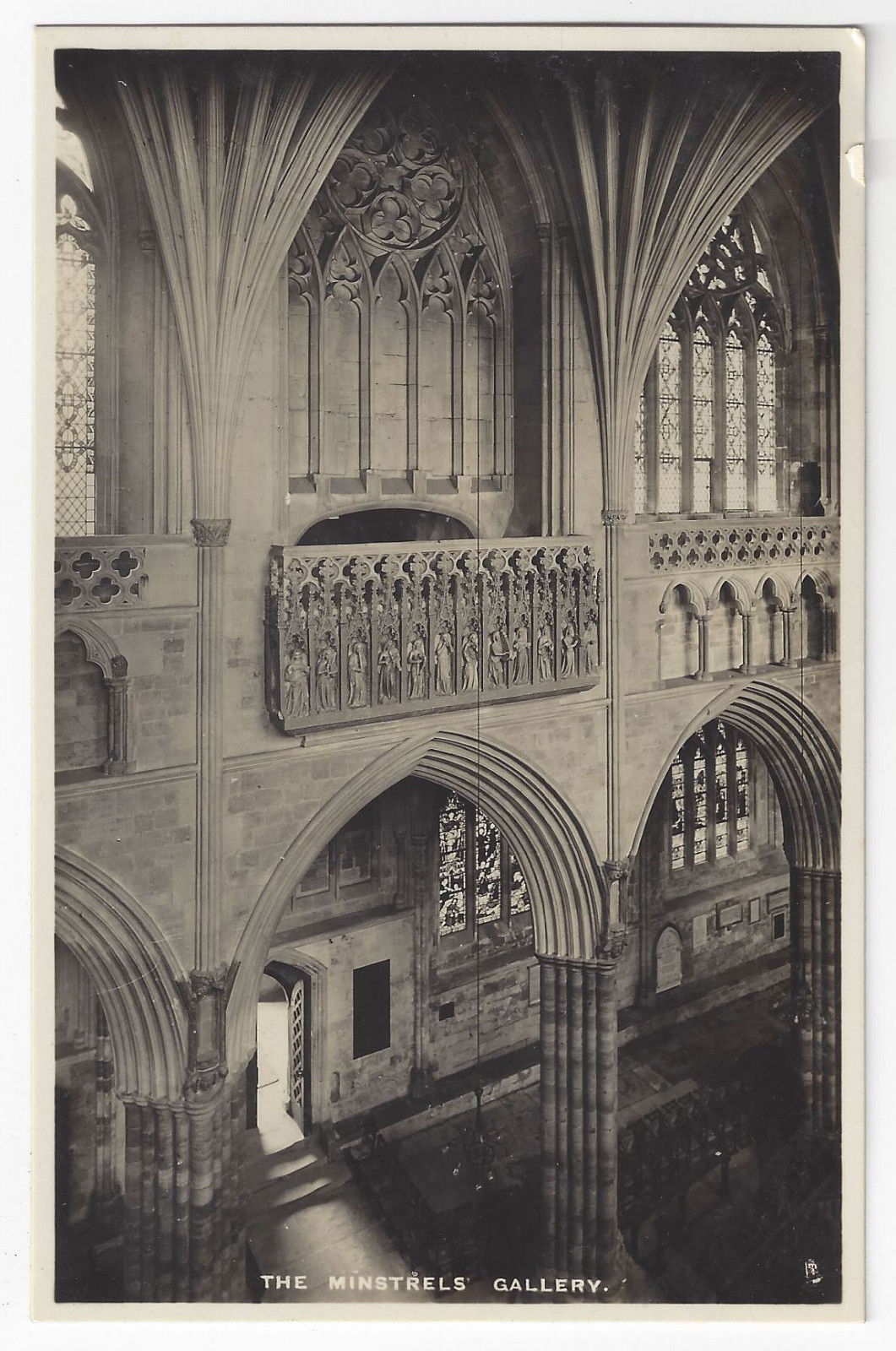 Br 1166  uk uk england exeter cathedral minstrels gallery tucks real photo postcard rppc