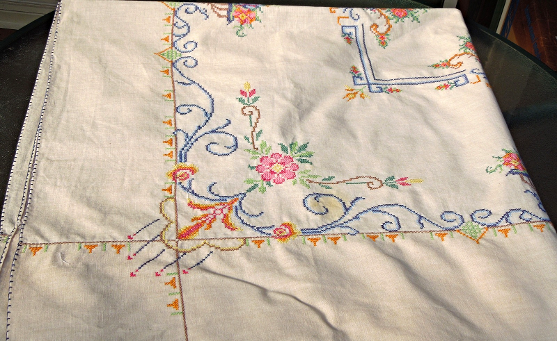 """Vintage Tablecloth 46"""" Sq-CrossStitch Embroidery on Hand Dyed Fabric #5005"""