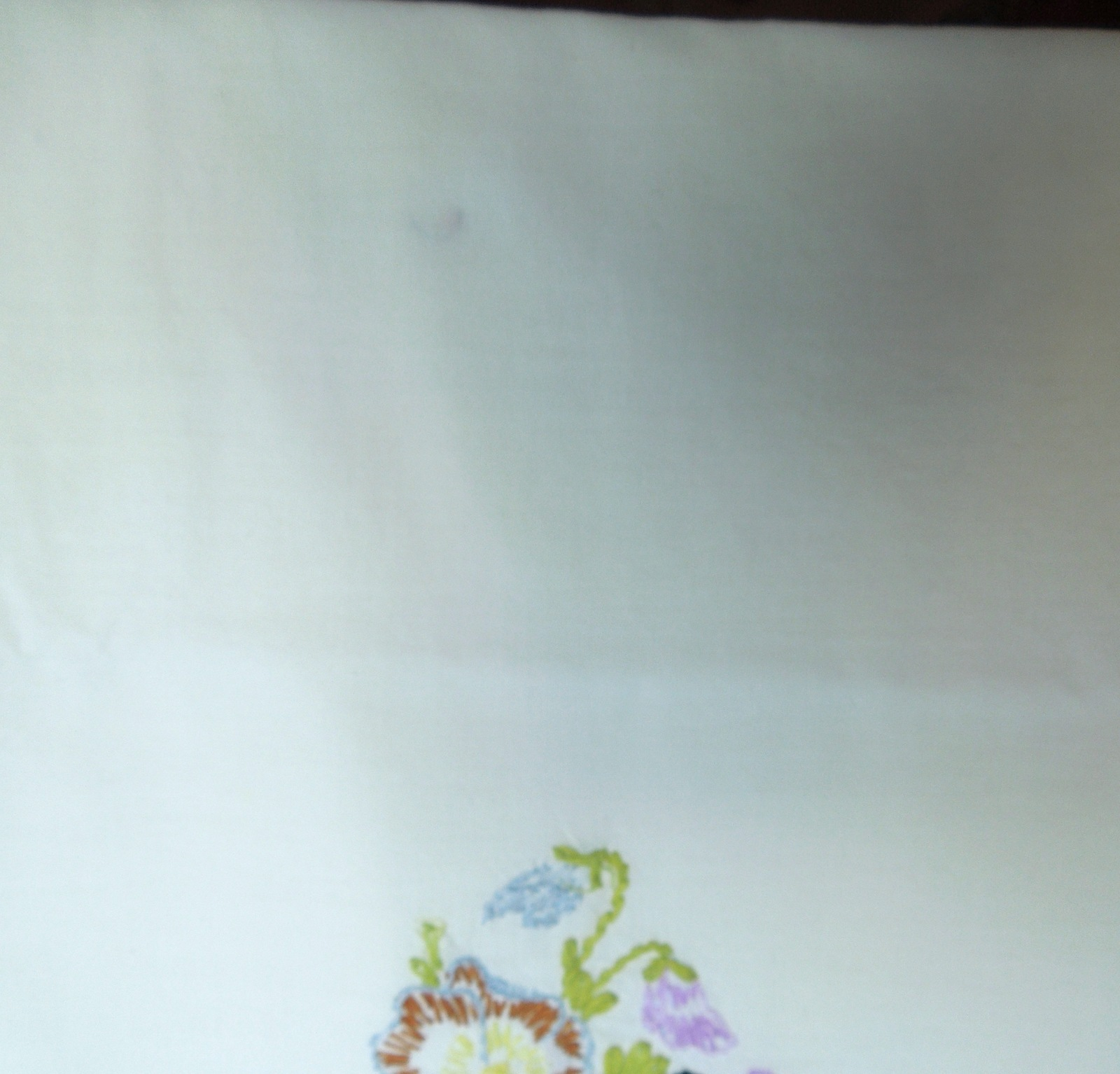 "Vintage Pillow Case - Queen - Embroidered Foral Pansey Design 18 1/2"" x 22"" #428"