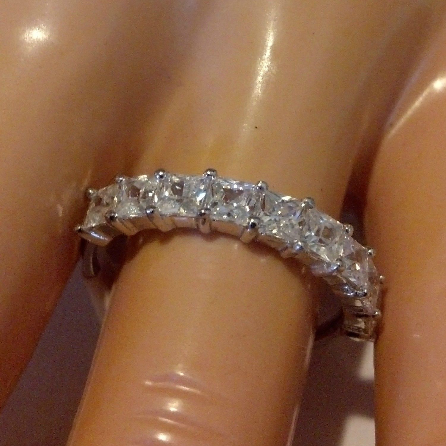 Sterling Silver ring size 10 CZ Princess Cut Engagement Wedding Band New 925 v54