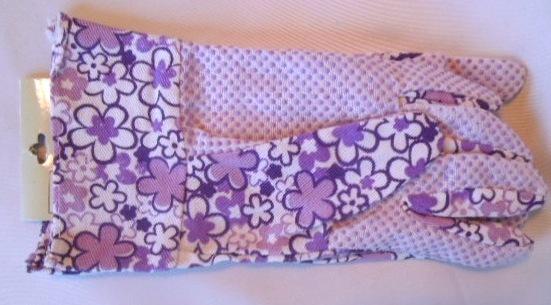 "Ladies Purple Floral and Canvas Garden Gloves ""Garden Touch"" by Cordova #19413"