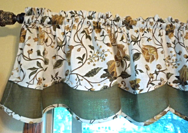 """Linen Look Scalloped Valance-Linen Tone w/Antique Gold and Olive 59""""x16"""" #6495"""
