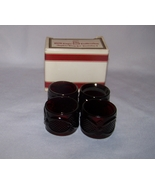 Avon 1876 Cape Cod Collection Ruby Red Set of 4 Napkin Rings With Box - $20.00