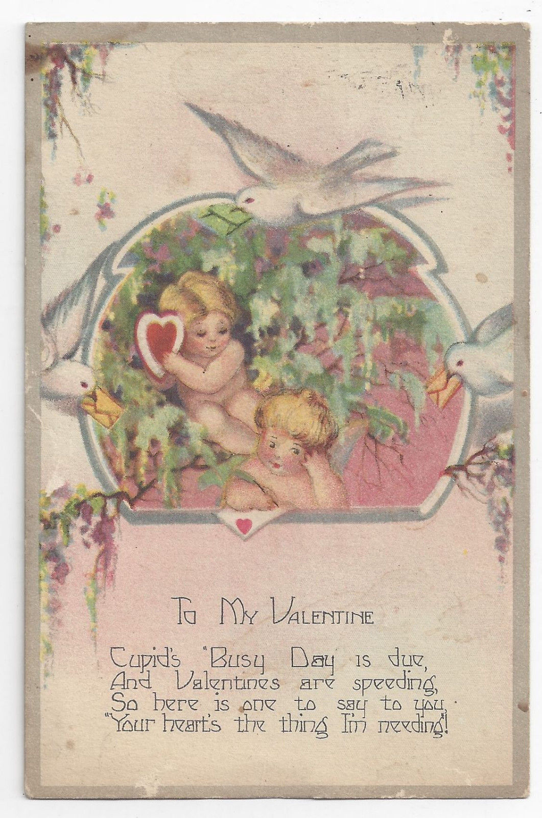 Valentine Postcard Cupids Doves Heart  Poem Vintage 1928