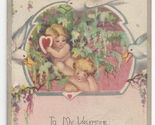 66 plas valentine postcard cupids doves heart poem vintage 1928 thumb155 crop