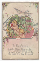 Valentine Postcard Cupids Doves Heart  Poem Vintage 1928 - $4.84
