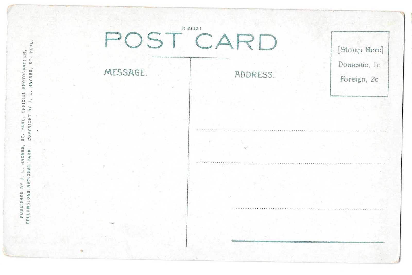 WY Yellowstone Park Beaver Dam and Hut Vtg Haynes Postcard Wyoming
