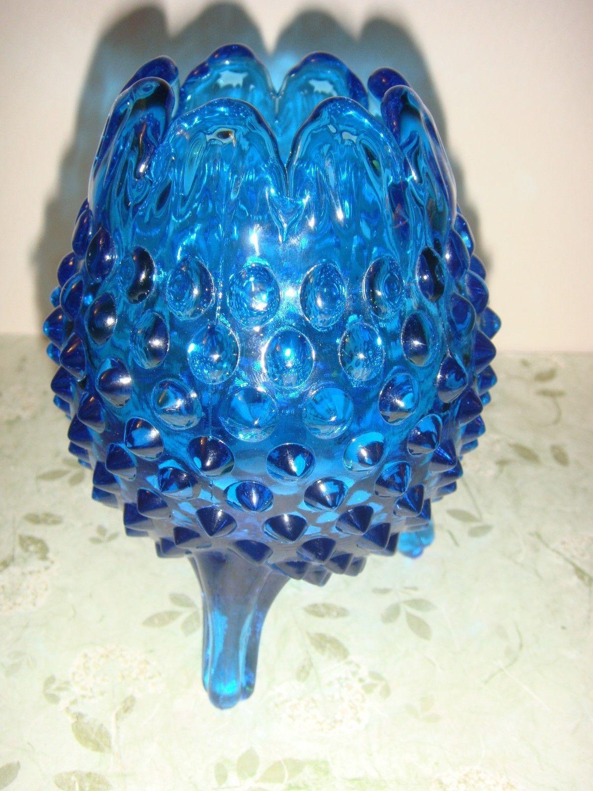 Fenton Blue 3 Toed Hobnail Vase