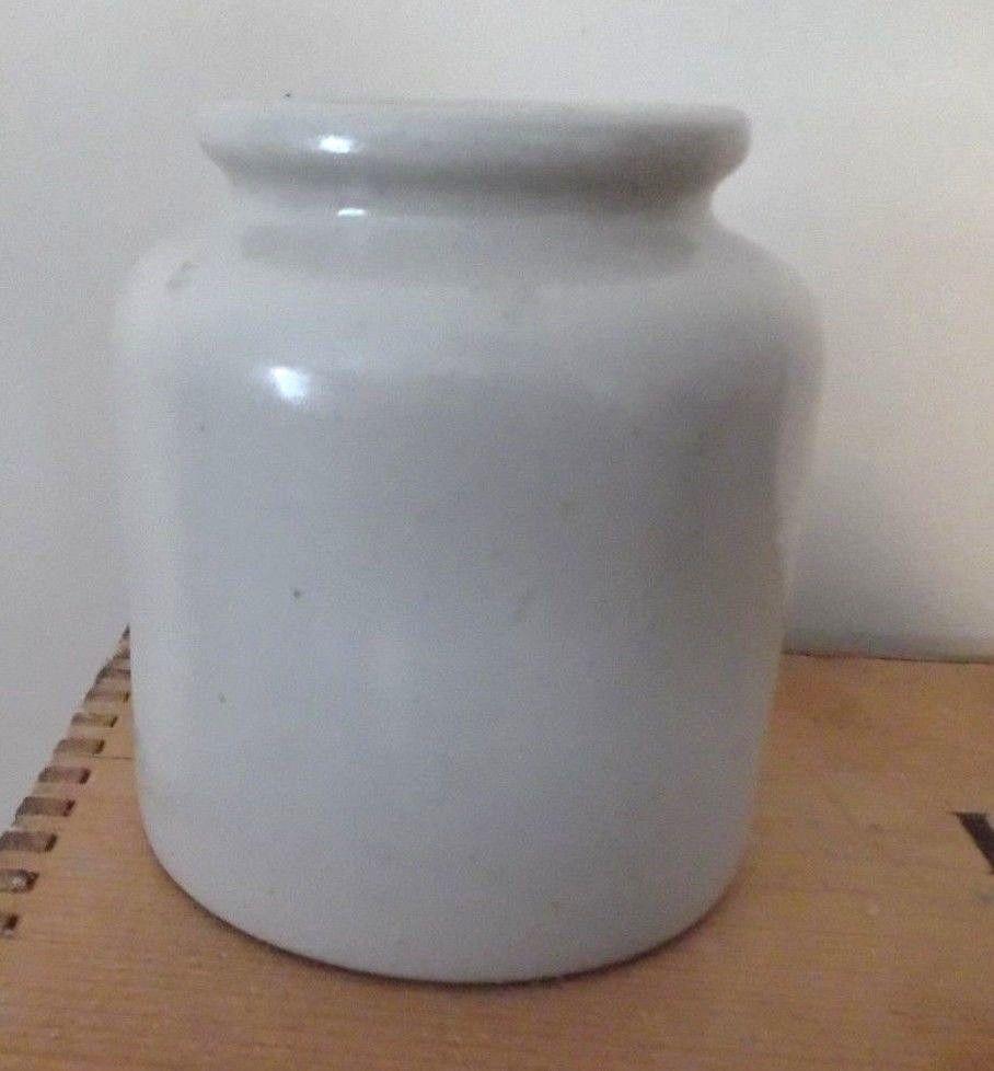 "Vintage Lab-Lagny Mustard Crock Stoneware French Glazed Jar Pottery 4 3/4"" T 40s"