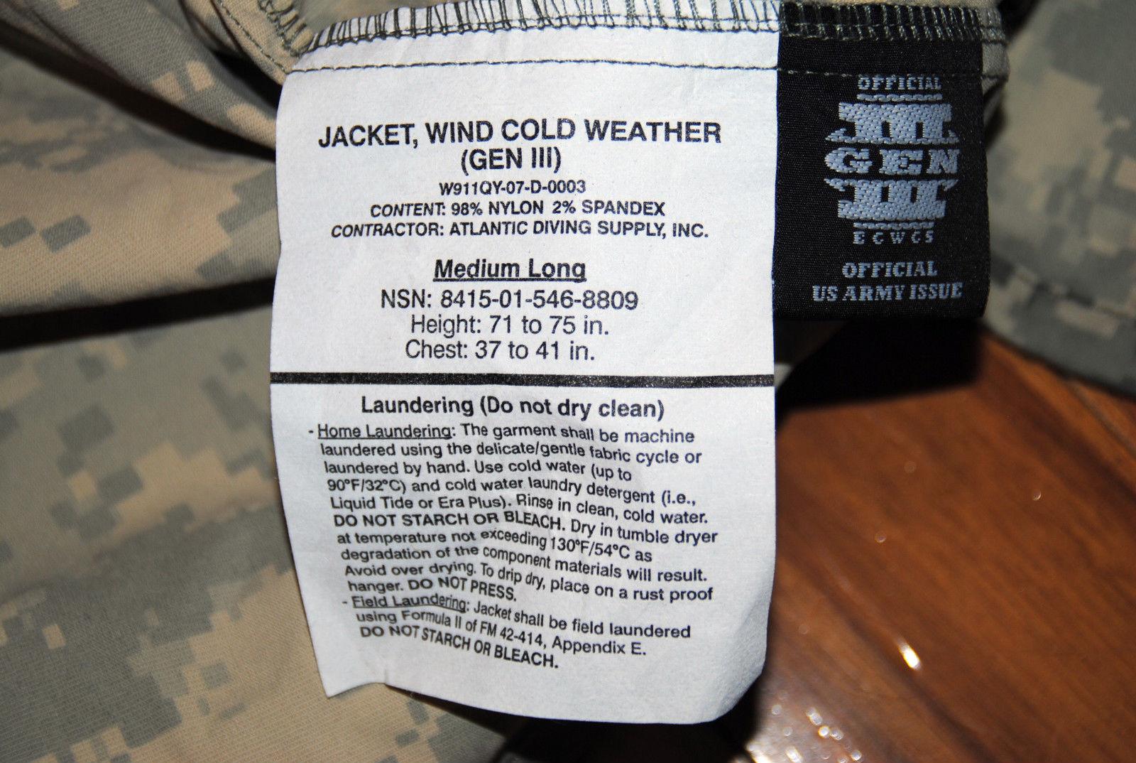 NWT US MILITARY ECWCS ACU GEN III LEVEL 4 WIND COLD WEATHER JACKET - MEDIUM LONG