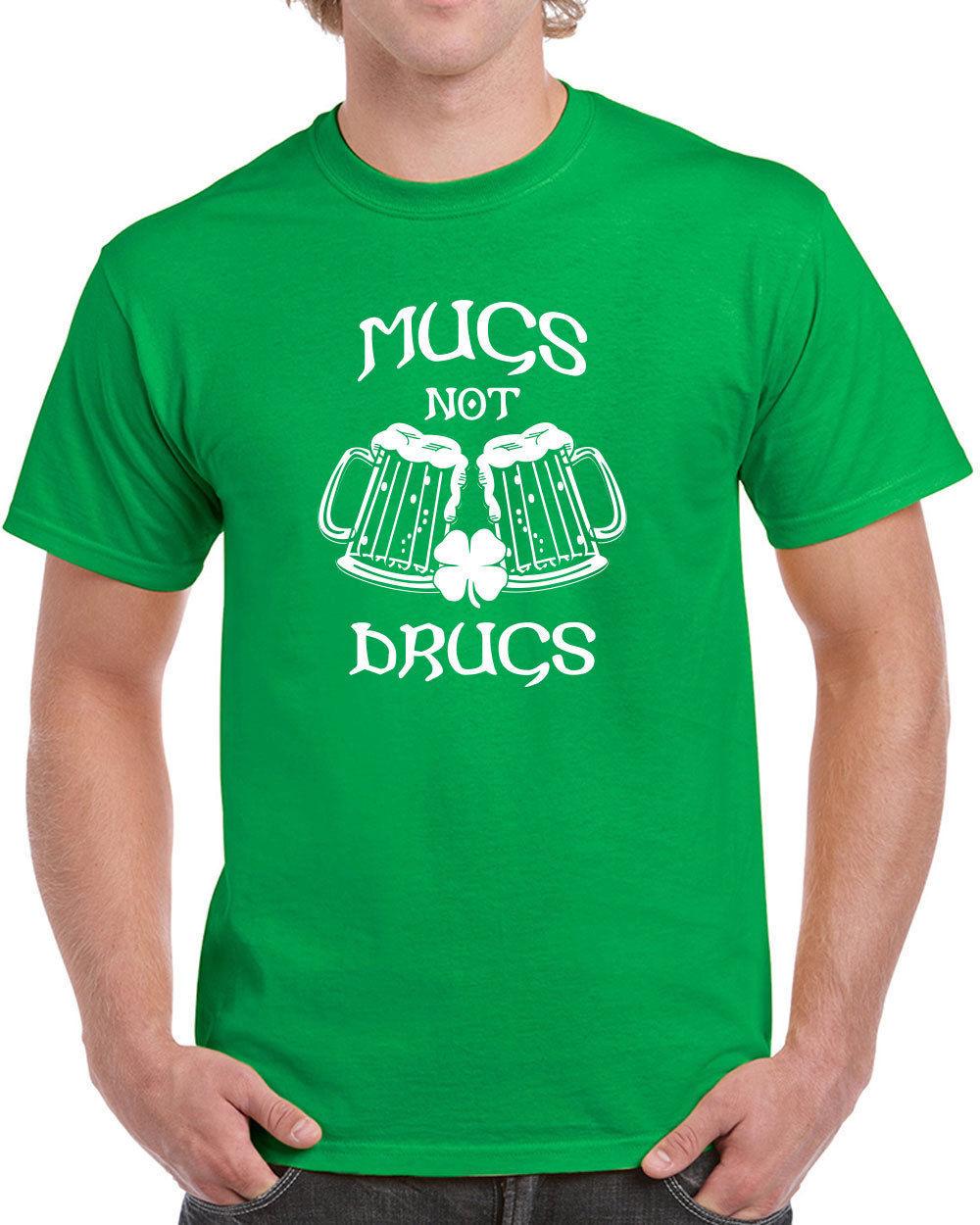 103 Mugs Not Drugs mens T-shirt Irish St. Patricks Day Ireland party beer drink
