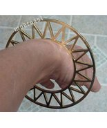 Geometric Triangle Bracelet Gold Cuff Celestial Zig Zag Tribal Bangle - $13.99