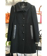 MACKAGE Black Wool Blend Long Button Up Coat w/ Black Leather Trim Sz M ... - $346.40