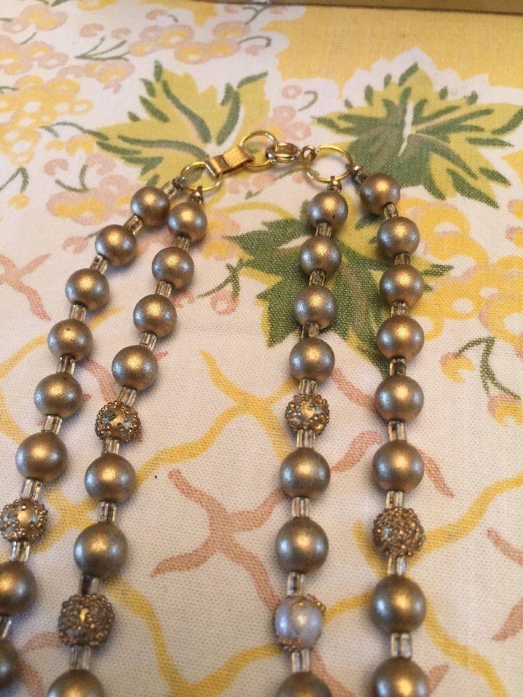 "Grandmas Estate 16"" Goldtone Nubby Beads And Glass Vintage"
