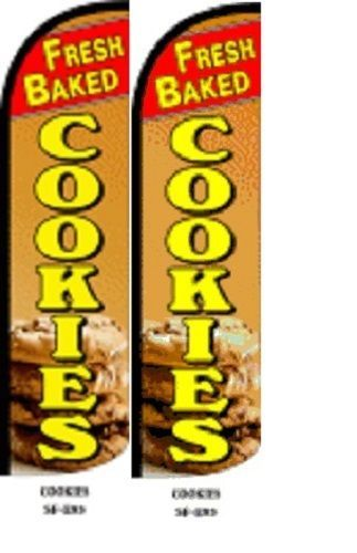 Fresh Cookies King Size Windless 38 x 138 in Polyester Swooper Flag pk of 2