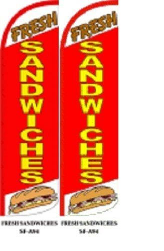 Fresh Sandwiches King Size Windless 38 x 138 in Polyester Swooper Flag pk of 2