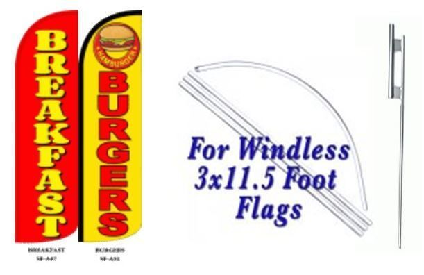 Breakfast Burger Windless  Swooper Flag With Complete Kit
