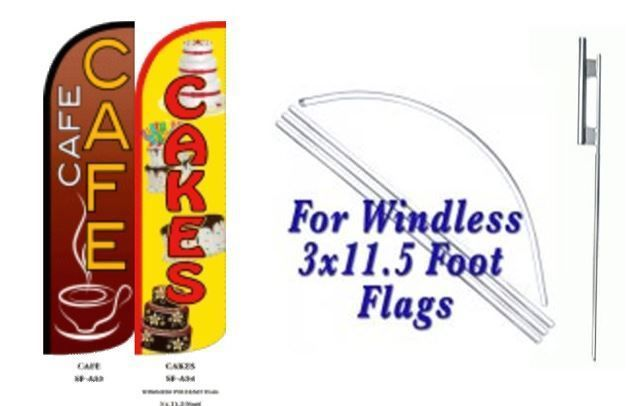 Cafe, Cakes Windless  Swooper Flag With Complete Kit