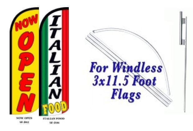 Now Open Italian Food  Windless  Swooper Flag With Complete Kit