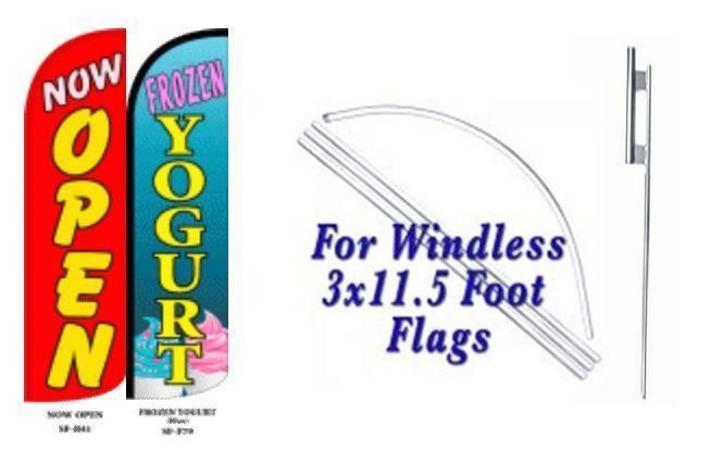 Now Open Frozen Yogurt Windless  Swooper Flag With Complete Kit