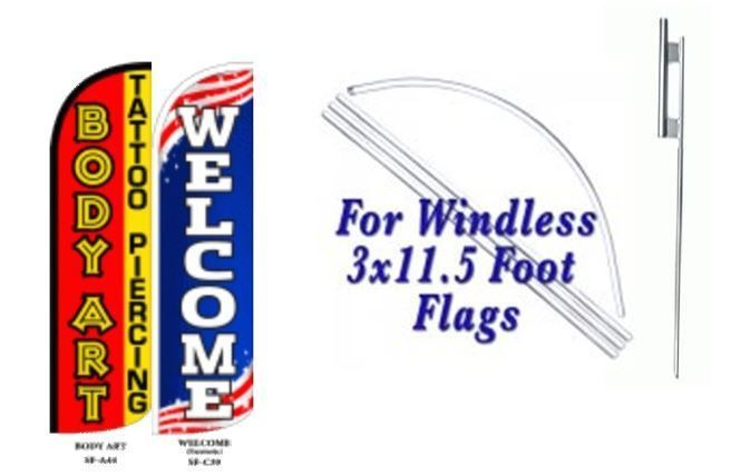 Body Art Welcome Windless  Swooper Flag With Complete Kit