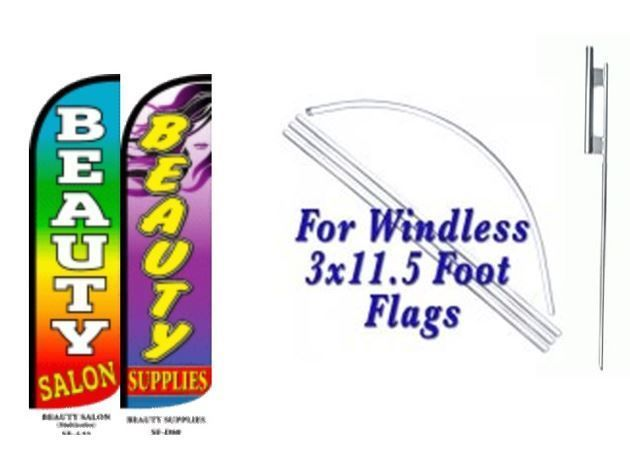 Beauty Salon, Beauty Supply Windless  Swooper Flag With Complete Kit