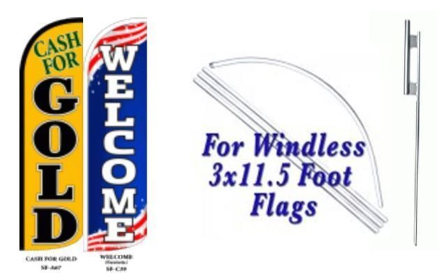 Cash For Gold Welcome Windless  Swooper Flag With Complete Kit
