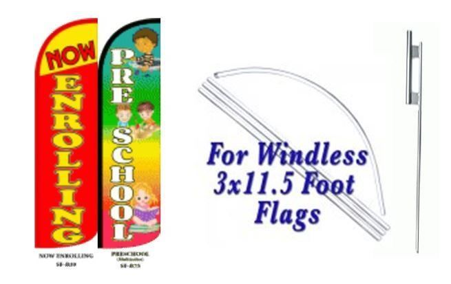 Now Enrolling,Preschool Windless  Swooper Flag With Complete Kit