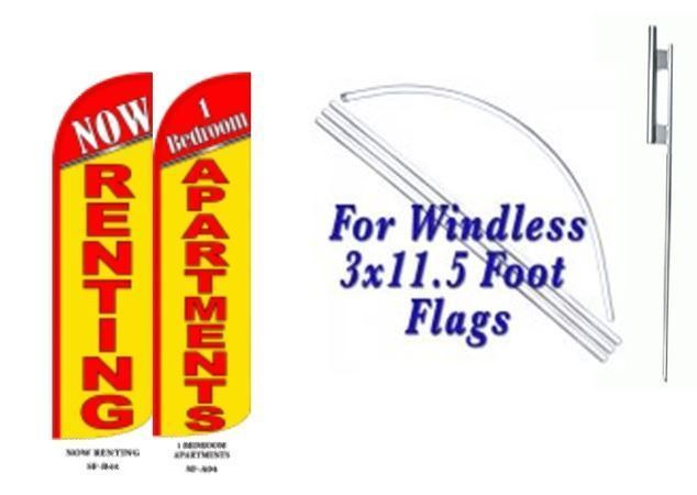 Now Renting 1  Bedroom apartment Windless  Swooper Flag With Complete Kit
