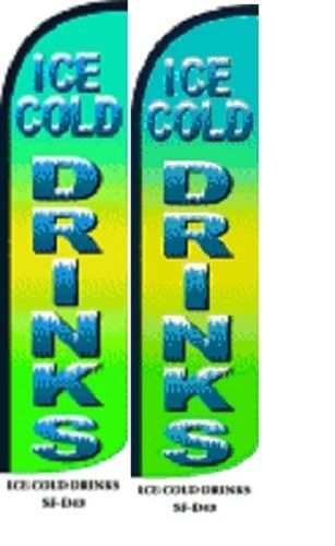 Ice Cold Drinks King Size Windless 38 x 138 in Polyester Swooper Flag pk of 2