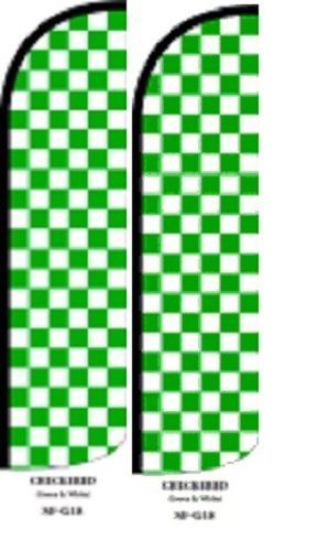Green and White King Size Windless 38 x 138 in Polyester Swooper Flag pk of 2