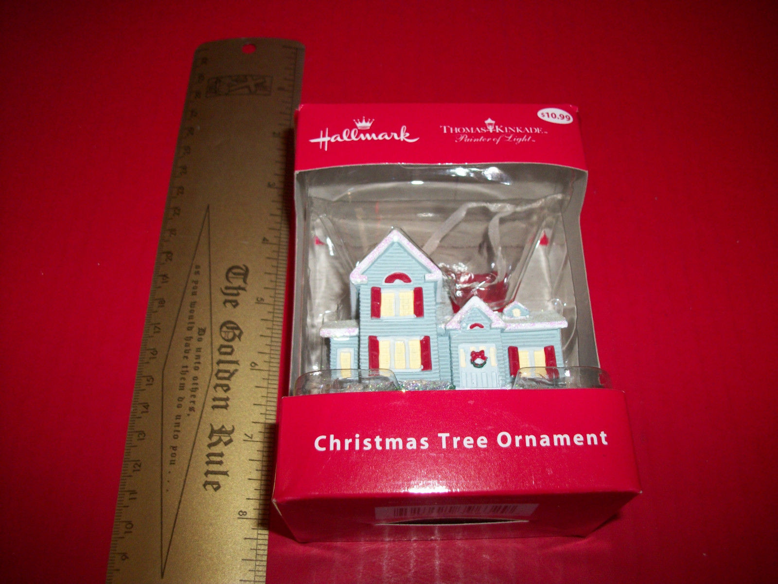 Home Holiday Hallmark Decor Thomas Kinkade Blue House Christmas Tree Ornament