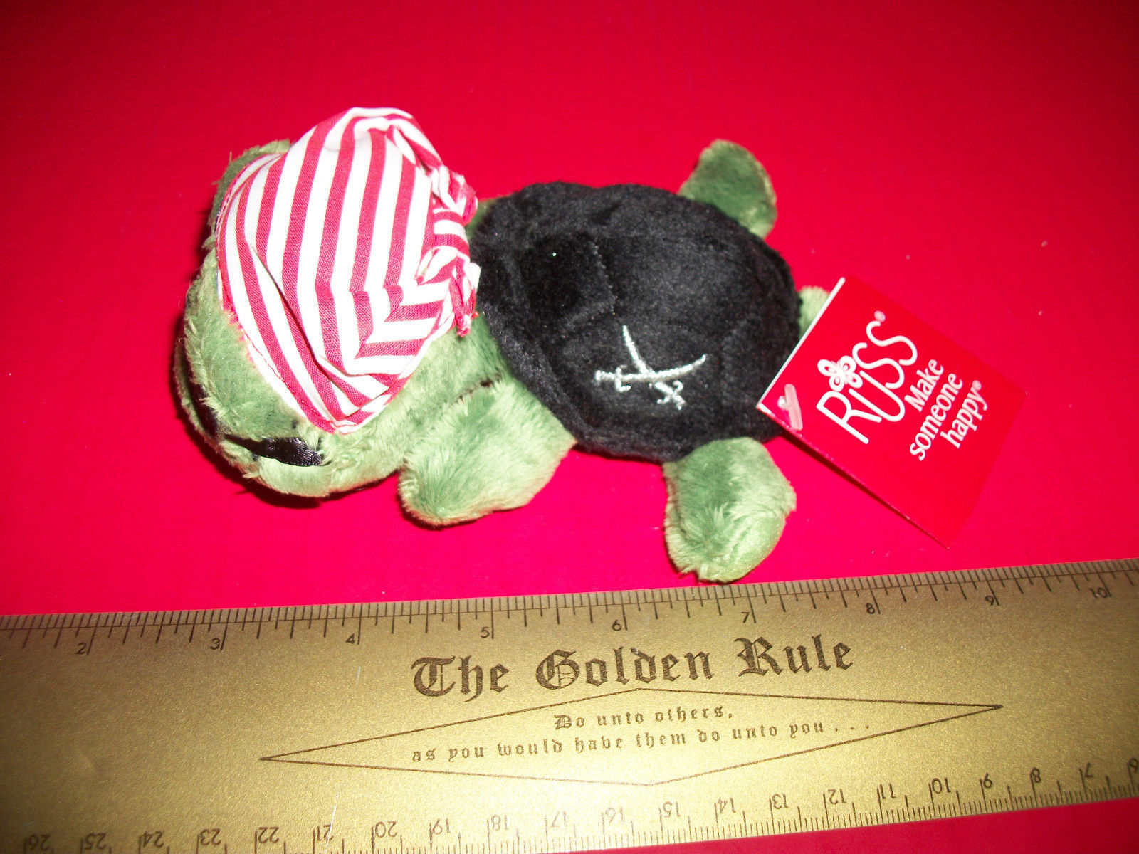 Toy Gift Russ Plush Shecky Small Pirate Turtle Stuffed Animal Bandana Eye Patch