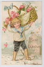 Best Wishes Embossed Boy w Basket of roses and Champagne Bottle Vtg Post... - $7.99