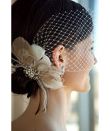 Bridal Feather Fascinator with Brooch and Bandeau Veil 1920s Headpiece Veil - $75.00