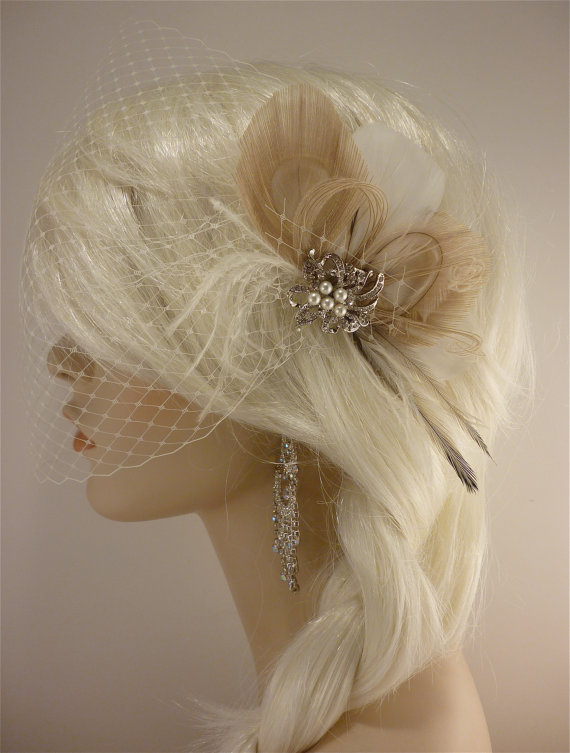 Bridal Feather Fascinator with Brooch and Bandeau Veil 1920s Headpiece Veil