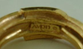 Ring, Avon, Goldtone Buckle with Rhinestones