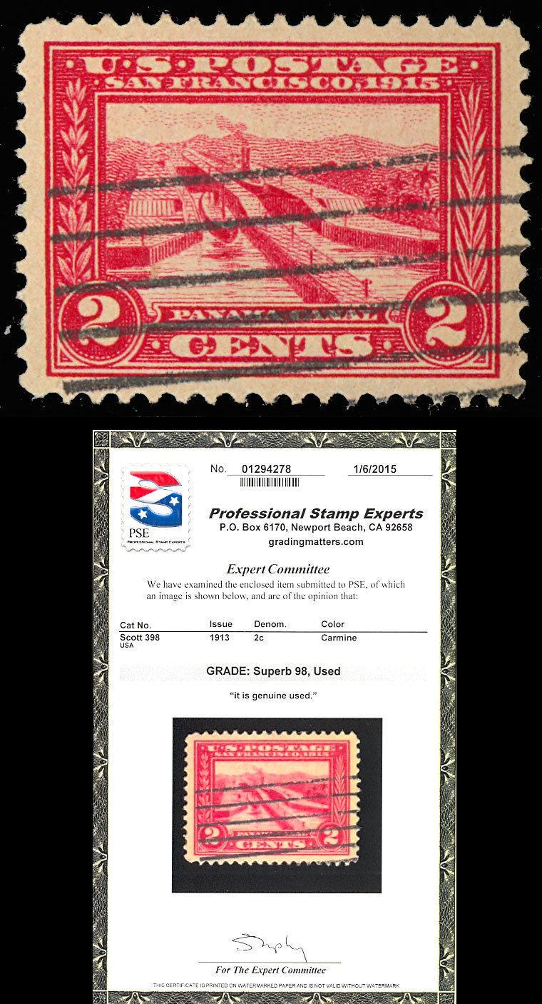 398 Used SUPERB 2¢ Panama Canal - PSE GRADED 98 - Stuart Katz