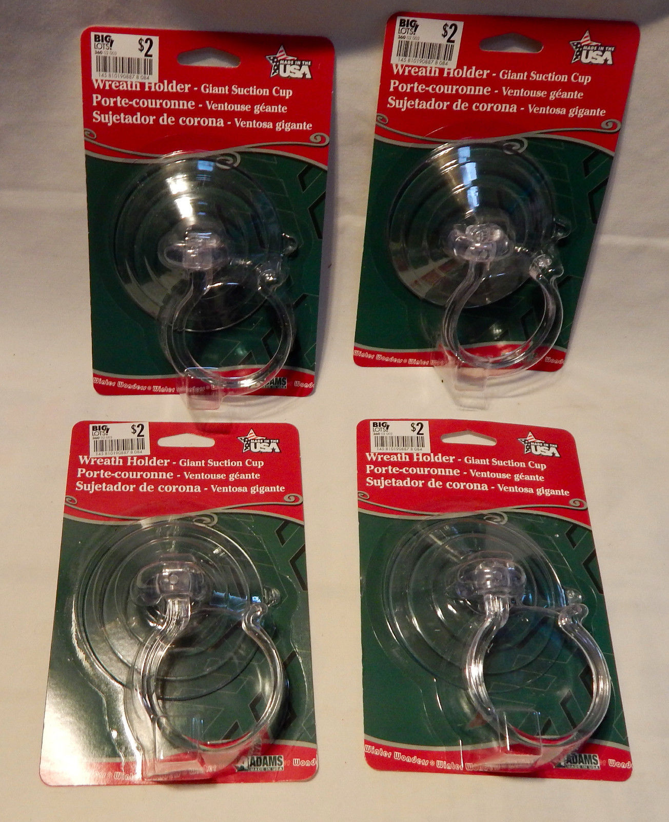 Giant Suction Cup Wreath Holder Or Anything To Hang On Windows Or Doors 4ea 34T