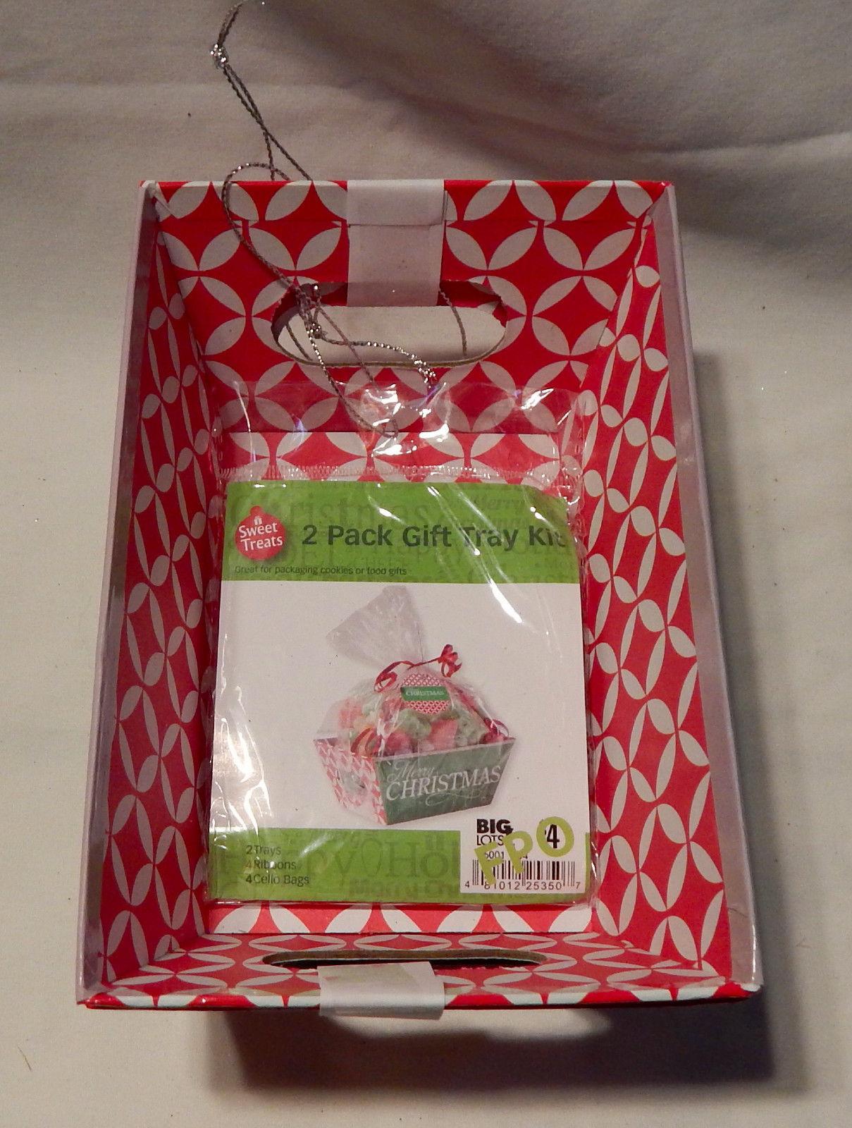 "Christmas 2 Pack Gift Tray Set Sweet Treats Merry Christmas 4 1/2"" x 7"" 23C"