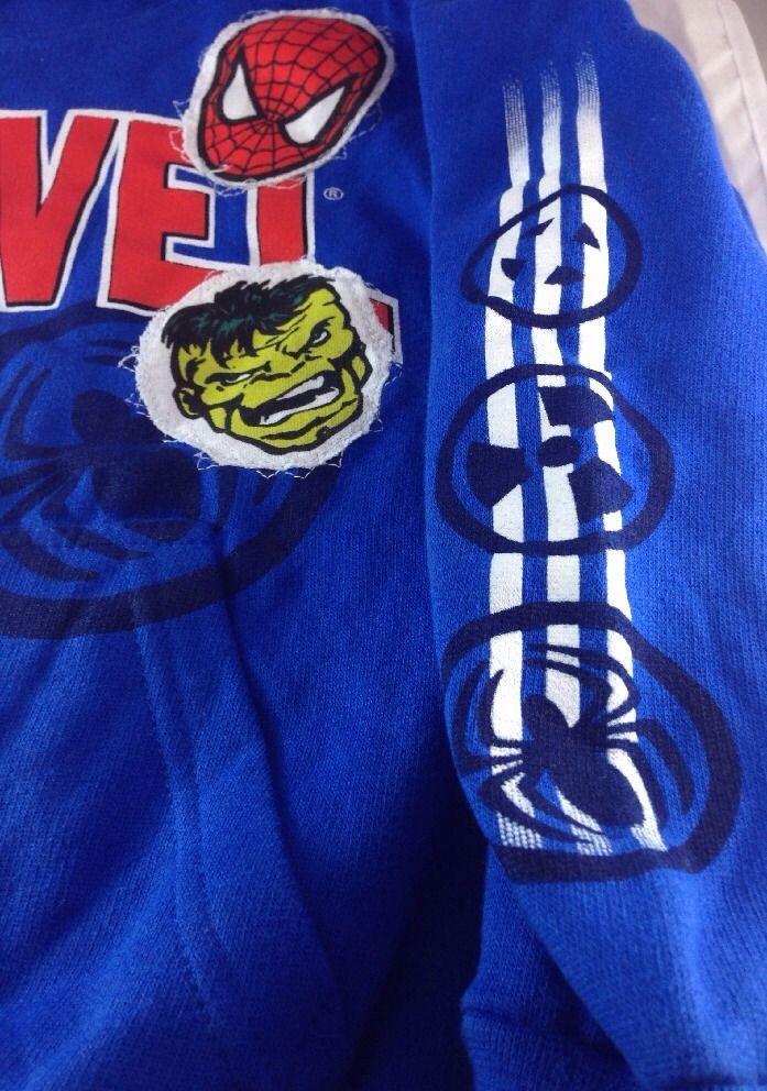 Marvel Mad Engine Marvel Characters Face  Blue Sweatshirts Hoodies Kids' 5/6