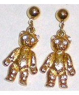 Anne Kline Gold Rhinestone Teddy Bear Earrings ... - $15.00
