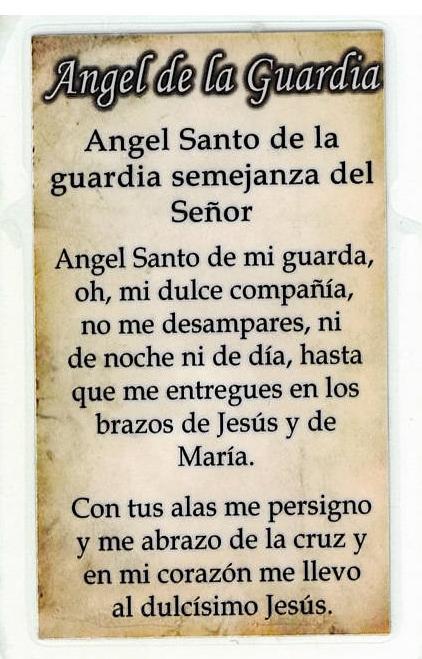 Laminated Prayer Card - Angel la Guardia - L300.0054