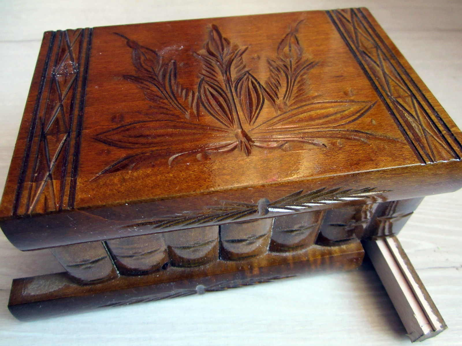Hungary Secret Enigma Wooden Jewelry Puzzle Money Gift Card Box Hidden Holder